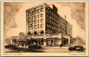 Lexington, Virginia Postcard ROBERT E. LEE HOTEL Artist's View / 1935 Cancel