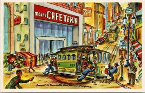 Moars Cafeteria San Francisco CA Cable Car 7Up Powell St Unused Lewy Postcard F7