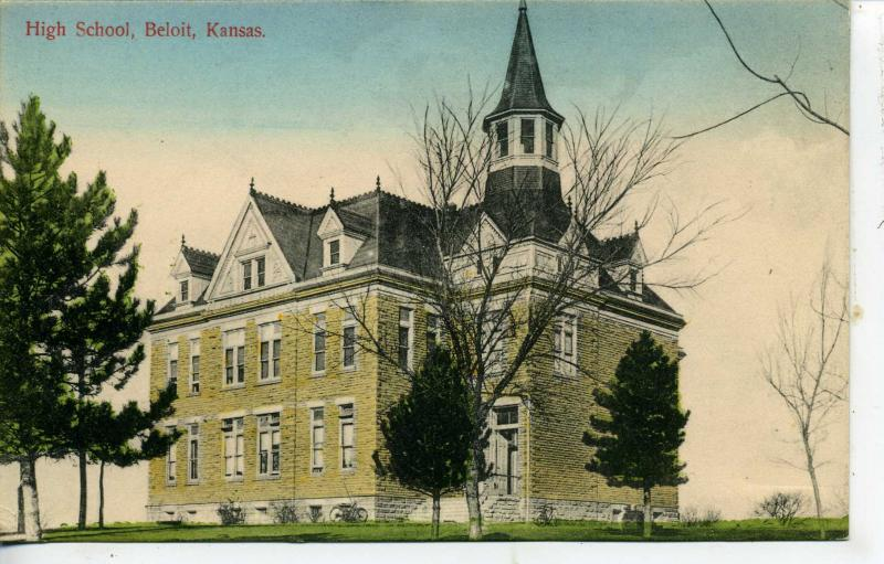 BELOIT KANSAS HIGH SCHOOL POSTCARD ROBERT MAHAFFA PUBLISHER