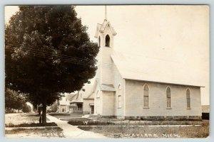 Wayland Michigan~Church of Christ~Neighborhood Homes~Victorian Porch~1909 RPPC