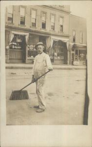 Street Sweeper w/ Broom CONEY ISLAND SALOON Occupation RPPC c1910 dcn