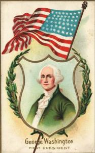 GEORGE WASHINGTON FIRST PRESIDENT EMBOSSED ANTIQUE PATRIOTIC POSTCARD