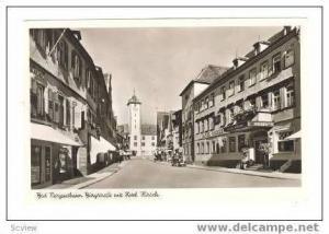 RP Bad Mergentheim, Germany, Burgstrasse mit Hotel Kirsch, 40s
