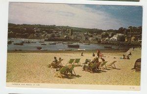 P2142, vintage postcard St Ives Harbour & beac, St Ives, England,u.k.