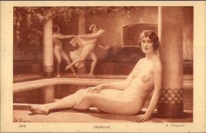 Woman Poses Women Frolic Play in Nude BAIGNEUSE Bath House Faugeron PC myn
