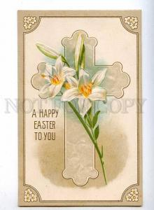 189575 Happy EASTER Lily Flowers Vintage EMBOSSED PC