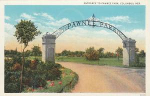 COLUMBUS , Nebraska , 1930-40s; Entrance to Pawnee Park