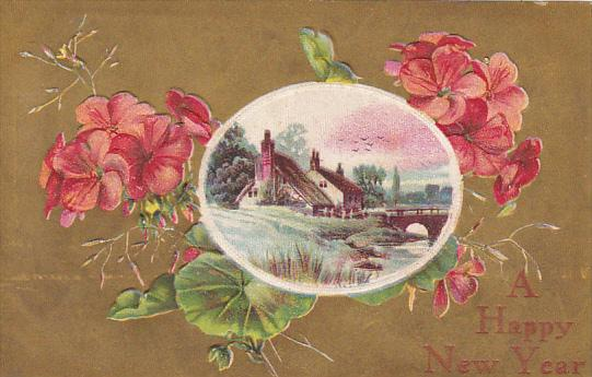 Happy New Year Pink Flowers and Landscape Scene