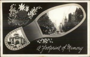 Melbourne Australia Collins St. Footprint Shoe Border Real Photo Postcard jrf
