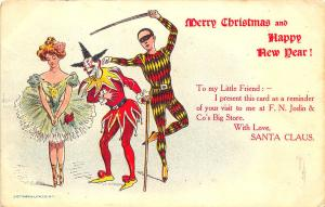 Clown With Beautiful Woman & Court Jester Merry Christmas Postcard