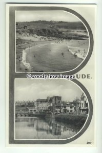tp9862 - Cornwall - Two Views, Crooklets Beach and Riverside at Bude - postcard