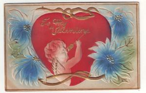 PC60 JLs  old postcard valentines day cupid arrow embossed