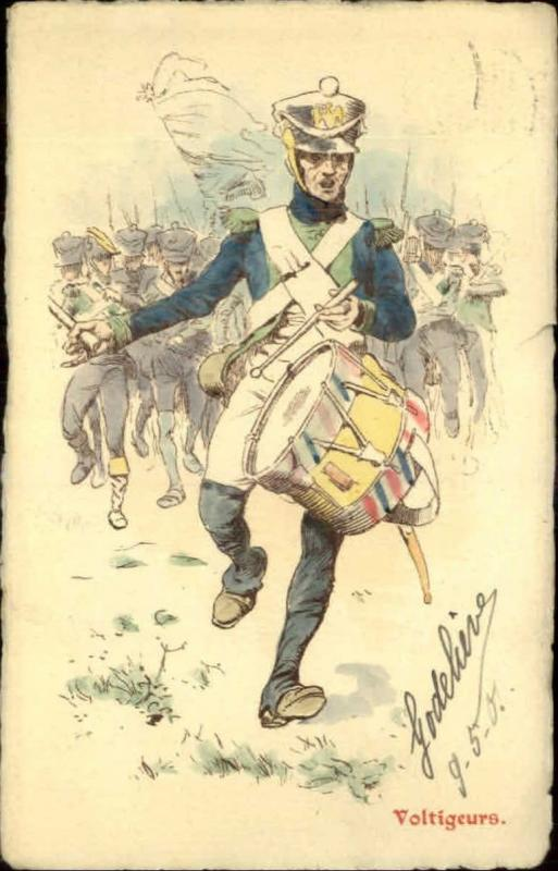 French Military Art 'Voltigeurs' Drummer in Parade c1901 Postcard