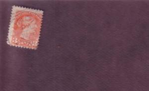 Dundas, Ontario, Squared Circle Cancel on Victoria 3 Cent Stamp