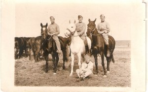 French soldiers with horses Old vintage antique French postcard