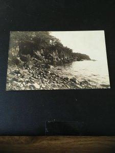 Antique Photo Postcard RPPC- Rockport ME , rocks Along the water