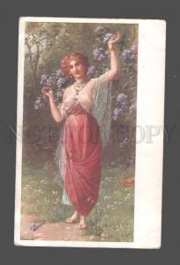 080515 Semi-NUDE Belle SLAVE Woman in Garden HAREM vintage PC