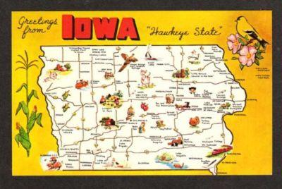 Ia Greetings Iowa State Map Postcard Keosauqua Malvern Hippostcard