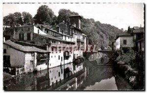 Old Postcard St Jean Pied De Port houses Basques in the Nive and the Bridge