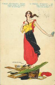 Belgium WW1 Patriotic Lady Flag Dress Allegory VENEZIANI Signed 1914