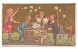 Victorian Trade Card Lavine Soap 1880's Soapboxes Children Blowing Bubbles