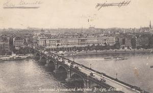 United Kingdom, Somerset House and Waterloo Bridge, London, 1911 used Postcard