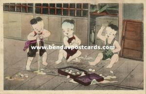 japan, Young Naughty Boys playing with Eggs (1910s) Y. Torii