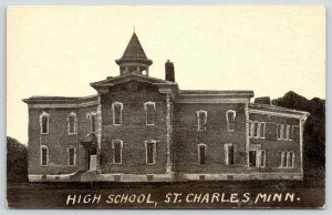 St Charles Minnesota~Belfy Atop Center Section of Old High School~Extension 1907