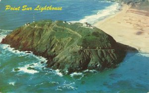 Postcard Aerial View Point Sur Light House Monterey County California