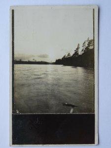 Scotland MELROSE Sunset on Cauldshiels Loch c1907 RP Postcard