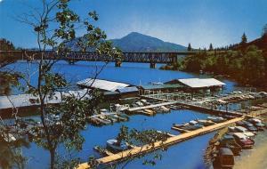 Redding California~Bridge Bay Resort Marina~Bridge~1950s Cars~Postcard