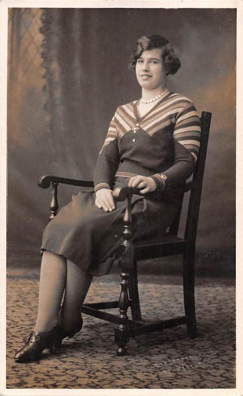 Vintage Fancy Woman Dame Femme in Chair 1933