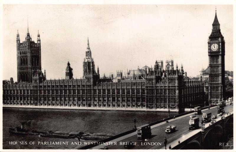 Postcard REAL PHOTO Houses of Parliament & Westminster Bridge LONDON RDF Series