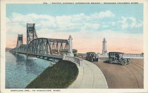 Pacific Highway Bridge, Portland, OR to Vancouver, WA, Early Postcard, Unused