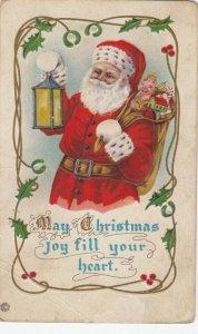 CHRISTMAS, 1900-10s ; Santa Claus carrying lantern & toys