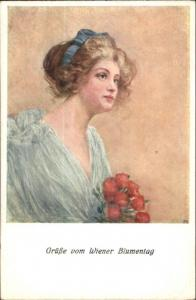 Beautiful Woman & Flowers Gruss vom Wiener Blumentag c1910 Postcard