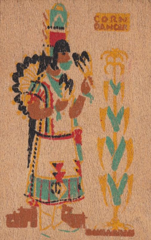 Indian ; Corn Dancer of the Rio Grande Pueblo Indians , Wooden card , 1943