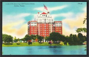 Dallas TX Cliff Towers Hotel and Lake Cliff 1950s Linen Postcard