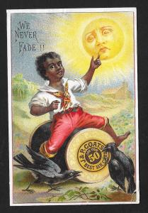VICTORIAN TRADE CARD Coat's Thread Black Boy Sun Crows