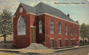Columbus Ohio~Brethren Mission Church on Corner~Small Red Brick Building~1912 PC