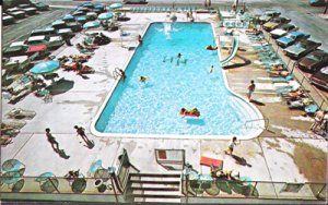 Ocean City MD - swimming pool at Harrison Hall Hotel, 1960/70s