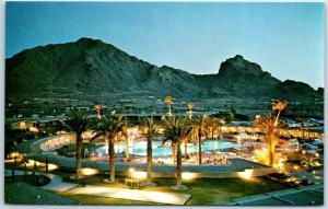 Scottsdale, Arizona Postcard MOUNTAIN SHADOWS HOTEL Evening View of Pool c1960s