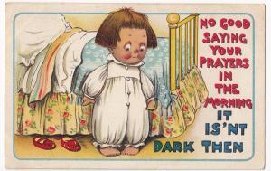 Comic PPC, 1910 Malpas PMK, No Good Saying Your Prayers in the Morning