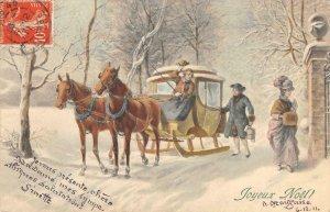 Joyeux Noël! Horse-Drawn Carriage Christmas Hand-Colored 1911 Vintage Postcard