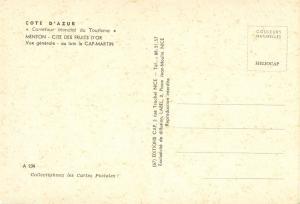 Menton, Cite des Fruits D'or Vue generale, unused Postcard