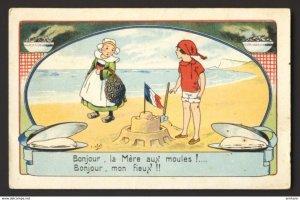 Boy girl build a sand castle,  beach, clam digging - E. Droit artist
