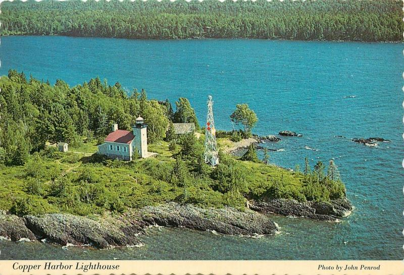 Copper Harbor Lighthouse Isle Royal National Park aerial view Michigan Postcard