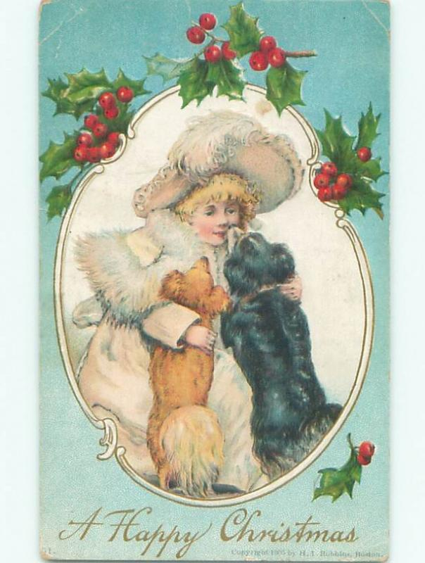 Pre-Linen christmas CUTE GIRL HAS FACE LICKED BY DOG W7247