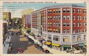 Maine Portland Congress Street West From Congress Square 1941