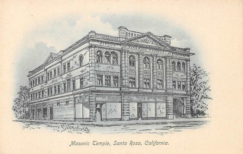 Masonic Temple, Santa Rosa, California ca 1907 Vintage Postcard